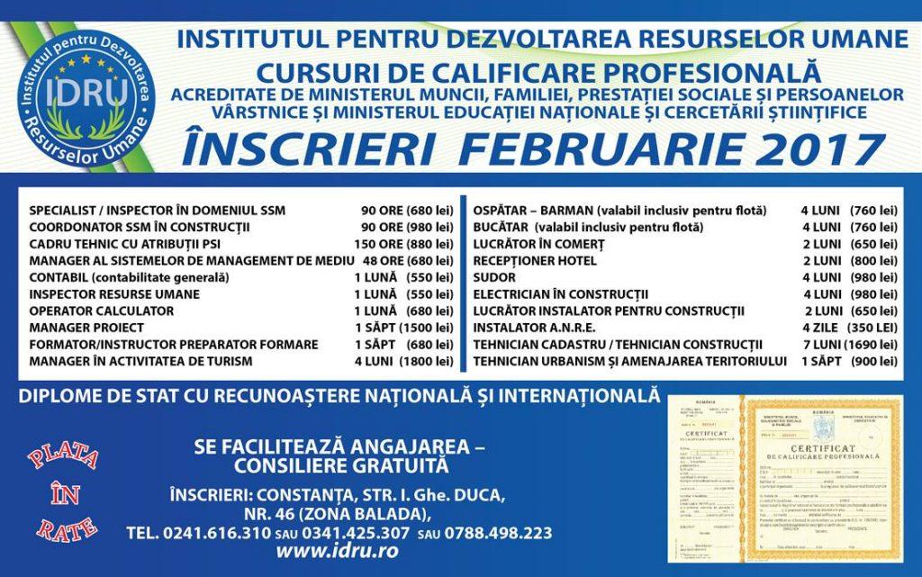 Macheta IDRU februarie 2017 - tarife